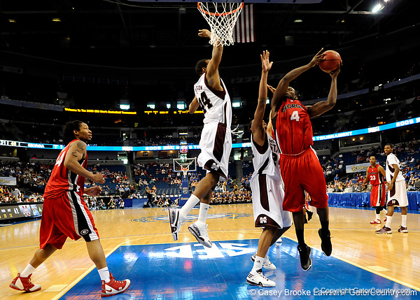 Georgia forward Chris Barnes attempts to score during the Mississippi Bulldogs 79-60 victory over the University of Georgia Bulldogs on Thursday, March 12, 2009 in the St. Pete Times Forum. / Gator Country photo by Casey Brooke Lawson