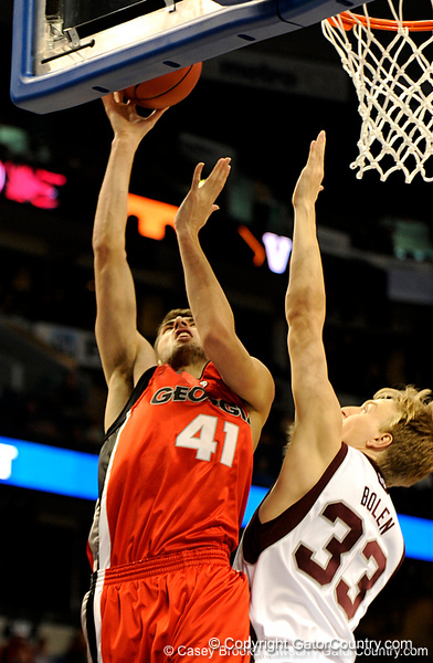 Georgia forward Drazen Zlovaric scores during the Mississippi Bulldogs 79-60 victory over the University of Georgia Bulldogs on Thursday, March 12, 2009 in the St. Pete Times Forum. / Gator Country photo by Casey Brooke Lawson