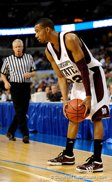 Mississippi State guard Phil Turner prepares to dribble the ball during the Mississippi Bulldogs 79-60 victory over the University of Georgia Bulldogs on Thursday, March 12, 2009 in the St. Pete Times Forum. / Gator Country photo by Casey Brooke Lawson