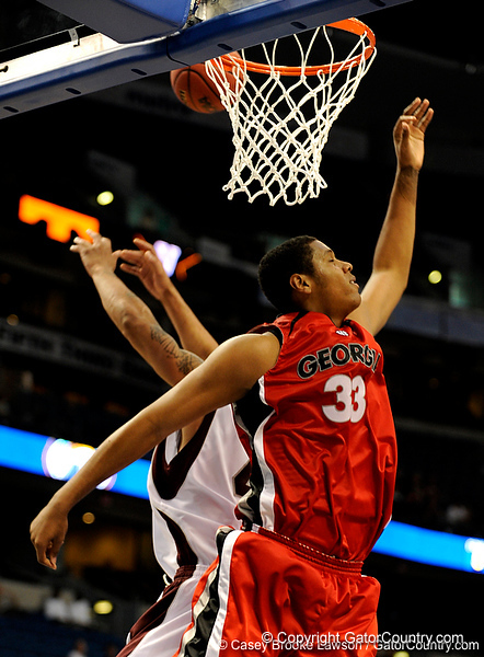 Georgia forward Trey Thompkins scores during the Mississippi Bulldogs 79-60 victory over the University of Georgia Bulldogs on Thursday, March 12, 2009 in the St. Pete Times Forum. / Gator Country photo by Casey Brooke Lawson