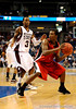 Georgia guard Dustin Ware moves the ball around Mississippi State guard Dee Bost during the Mississippi Bulldogs 79-60 victory over the University of Georgia Bulldogs on Thursday, March 12, 2009 in the St. Pete Times Forum. / Gator Country photo by Casey Brooke Lawson