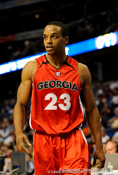 Georgia guard Corey Butler looks toward his coach during the Mississippi Bulldogs 79-60 victory over the University of Georgia Bulldogs on Thursday, March 12, 2009 in the St. Pete Times Forum. / Gator Country photo by Casey Brooke Lawson