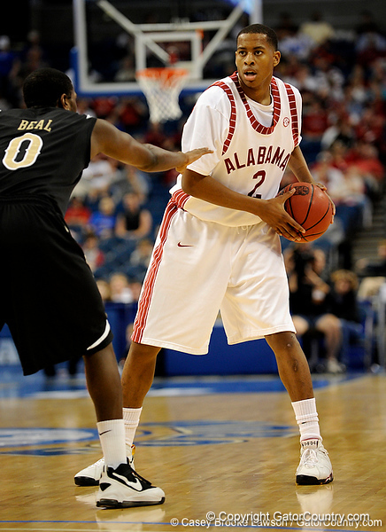 Alabama guard Mikhail Torrance moves the ball during the Alabama Crimson Tide 82-75 victory over the Vanderbilt Commodores on Thursday, March 12, 2009 in the St. Pete Times Forum. / Gator Country photo by Casey Brooke Lawson