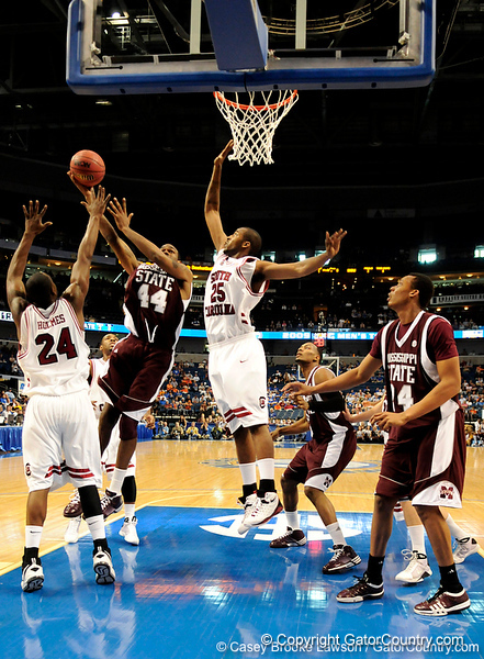 MSU forward Brian Johnson blocks a South Carolina player during the second half of the Mississippi State Bulldogs 82-68 victory over the South Carolina Gamecocks on Friday, March 13, 2009 in the St. Pete Times Forum. / Gator Country photo by Casey Brooke Lawson