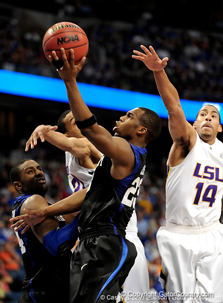 LSU guard Garrett Temple attempts to block a Kentucky player during the LSU Tigers 67-58 victory over the Kentucky Wildcats on Friday, March 13, 2009 in the St. Pete Times Forum. / Gator Country photo by Casey Brooke Lawson