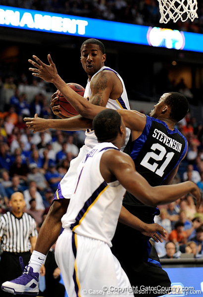A LSU player grabs a rebound during the LSU Tigers 67-58 victory over the Kentucky Wildcats on Friday, March 13, 2009 in the St. Pete Times Forum. / Gator Country photo by Casey Brooke Lawson