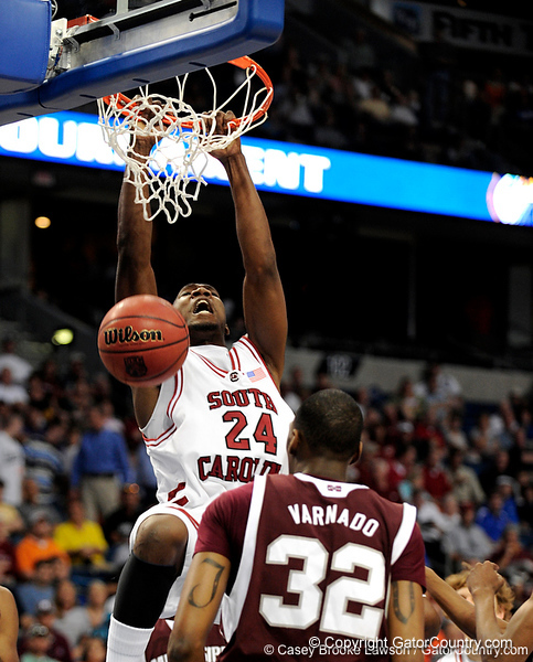 South Carolina center Mike Holmes scores during the first half of the Mississippi State Bulldogs game against the South Carolina Gamecocks on Friday, March 13, 2009 in the St. Pete Times Forum. / Gator Country photo by Casey Brooke Lawson