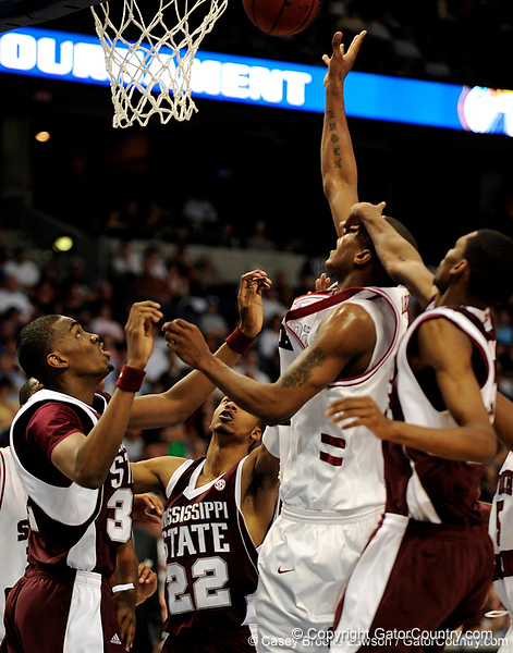 A Mississippi State player blocks a South Carolina player during the first half of the Mississippi State Bulldogs game against the South Carolina Gamecocks on Friday, March 13, 2009 in the St. Pete Times Forum. / Gator Country photo by Casey Brooke Lawson