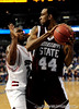 MSU forward Brian Johnson attempts to moves the ball around a South Carolina player during the second half of the Mississippi State Bulldogs 82-68 victory over the South Carolina Gamecocks on Friday, March 13, 2009 in the St. Pete Times Forum. / Gator Country photo by Casey Brooke Lawson