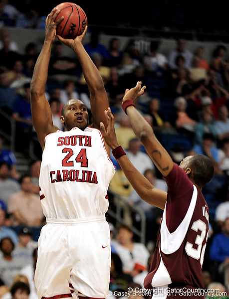 South Carolina center Mike Holmes shoots during the first half of the Mississippi State Bulldogs game against the South Carolina Gamecocks on Friday, March 13, 2009 in the St. Pete Times Forum. / Gator Country photo by Casey Brooke Lawson