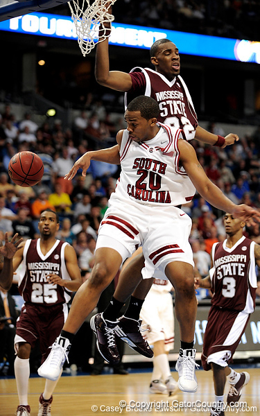 South Carolina guard Zam Frederick attempts to get a rebound during the first half of the Mississippi State Bulldogs game against the South Carolina Gamecocks on Friday, March 13, 2009 in the St. Pete Times Forum. / Gator Country photo by Casey Brooke Lawson
