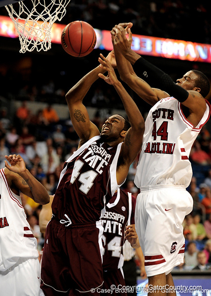 MSU forward Brian Johnson loses a rebound to a South Carolina player during the second half of the Mississippi State Bulldogs 82-68 victory over the South Carolina Gamecocks on Friday, March 13, 2009 in the St. Pete Times Forum. / Gator Country photo by Casey Brooke Lawson