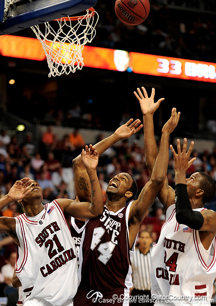 MSU forward Brian Johnson reaches for the ball during the second half of the Mississippi State Bulldogs 82-68 victory over the South Carolina Gamecocks on Friday, March 13, 2009 in the St. Pete Times Forum. / Gator Country photo by Casey Brooke Lawson