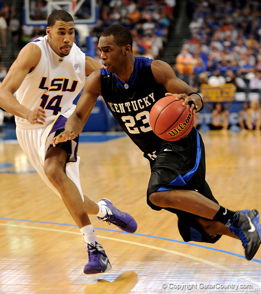 LSU guard Garrett Temple guards Kentucky player Jodie Meeks during the LSU Tigers 67-58 victory over the Kentucky Wildcats on Friday, March 13, 2009 in the St. Pete Times Forum. / Gator Country photo by Casey Brooke Lawson