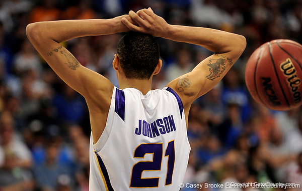LSU center Chris Johnson puts his hands above his head during the LSU Tigers 67-58 victory over the Kentucky Wildcats on Friday, March 13, 2009 in the St. Pete Times Forum. / Gator Country photo by Casey Brooke Lawson