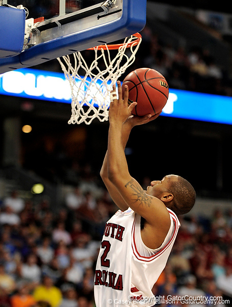 South Carolina guard Devan Downey scores during the first half of the Mississippi State Bulldogs game against the South Carolina Gamecocks on Friday, March 13, 2009 in the St. Pete Times Forum. / Gator Country photo by Casey Brooke Lawson