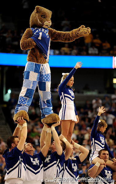 The Kentucky mascot and the UK cheerleaders perform during the LSU Tigers 67-58 victory over the Kentucky Wildcats on Friday, March 13, 2009 in the St. Pete Times Forum. / Gator Country photo by Casey Brooke Lawson