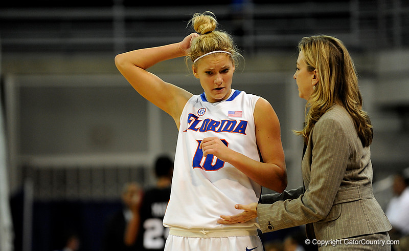 (Casey Brooke Lawson / Gator Country) UF guard Steffi Sorensen talks to Head Coach Amanda Butler during the second half of the Gators 82 to 64 victory over South Carolina on Sunday, February 22, 2009.