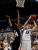 (Casey Brooke Lawson / Gator Country) UF freshman center Azania Stewart scores over a South Carolina player during the Gators 82 to 64 victory over South Carolina on Sunday, February 22, 2009.