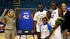 (Casey Brooke Lawson / Gator Country) UF senior Aneika Henry stands with her parents, siblings and coach after her last home victory. The Gators defeated South Carolina 82 to 64 on Sunday, February 22, 2009.