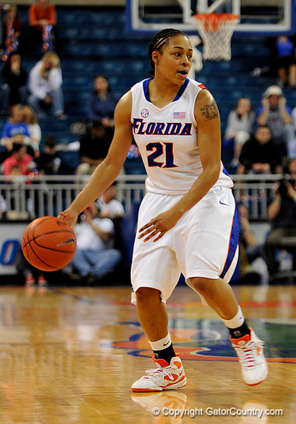 (Casey Brooke Lawson / Gator Country) UF freshman guard Trumae Lucas moves the ball downcourt during the Gators 82 to 64 victory over South Carolina on Sunday, February 22, 2009.
