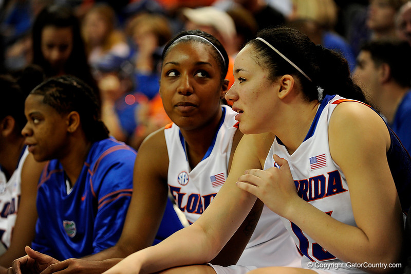(Casey Brooke Lawson / Gator Country) UF freshman center Azania Stewart talks with a teammate during the Gators 82 to 64 victory over South Carolina on Sunday, February 22, 2009.