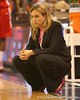 photo by Tim Casey<br /> <br /> Florida head coach Amanda Butler looks at the video board during the Gators' 61-45 win against the Georgia Bulldogs on Sunday, January 18, 2009 at the Stephen C. O'Connell Center in Gainesville, Fla.