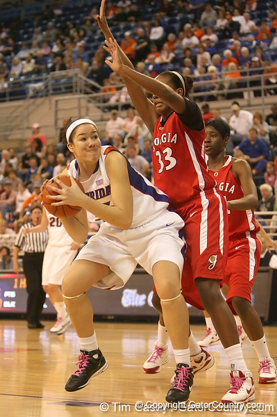 photo by Tim Casey<br /> <br /> Florida freshman center Azania Stewart attempts a layup during the Gators' 61-45 win against the Georgia Bulldogs on Sunday, January 18, 2009 at the Stephen C. O'Connell Center in Gainesville, Fla.