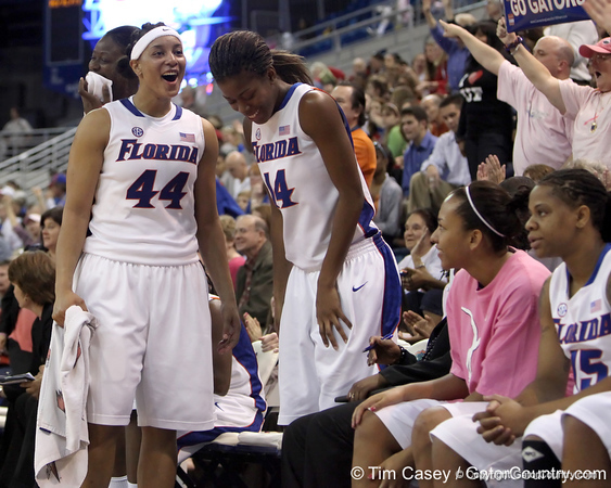 photo by Tim Casey<br /> <br /> Florida senior forward Marshae Dotson celebrates during the Gators' 61-45 win against the Georgia Bulldogs on Sunday, January 18, 2009 at the Stephen C. O'Connell Center in Gainesville, Fla.