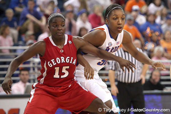 photo by Tim Casey<br /> <br /> Florida sophomore center Ebonie Crawford fights for position during the Gators' 61-45 win against the Georgia Bulldogs on Sunday, January 18, 2009 at the Stephen C. O'Connell Center in Gainesville, Fla.