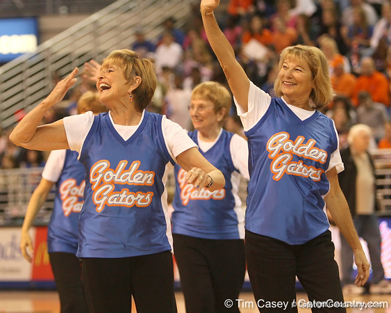photo by Tim Casey<br /> <br /> The Golden Gators perform during halftime of the Gators' 61-45 win against the Georgia Bulldogs on Sunday, January 18, 2009 at the Stephen C. O'Connell Center in Gainesville, Fla.