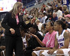 photo by Tim Casey<br /> <br /> Florida head coach Amanda Butler celebrates with 25 second remaining during the Gators' 61-45 win against the Georgia Bulldogs on Sunday, January 18, 2009 at the Stephen C. O'Connell Center in Gainesville, Fla.