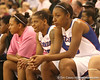 photo by Tim Casey<br /> <br /> Florida sophomore center Ebonie Crawford looks on from the bench during the Gators' 61-45 win against the Georgia Bulldogs on Sunday, January 18, 2009 at the Stephen C. O'Connell Center in Gainesville, Fla.