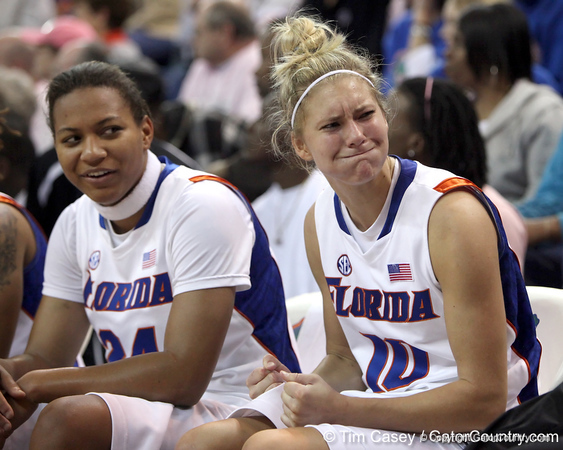 photo by Tim Casey<br /> <br /> Florida junior guard Steffi Sorensen jokes with teammates during the Gators' 61-45 win against the Georgia Bulldogs on Sunday, January 18, 2009 at the Stephen C. O'Connell Center in Gainesville, Fla.