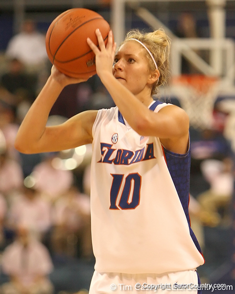 photo by Tim Casey<br /> <br /> Florida junior guard Steffi Sorensen scores on a three-pointer during the Gators' 61-45 win against the Georgia Bulldogs on Sunday, January 18, 2009 at the Stephen C. O'Connell Center in Gainesville, Fla.