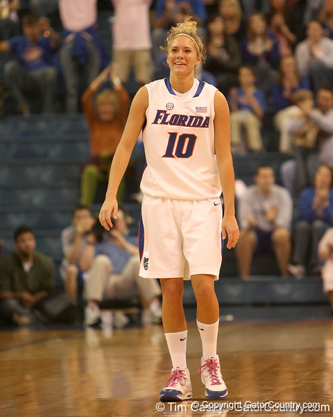 photo by Tim Casey<br /> <br /> Florida junior guard Steffi Sorensen laughs after making a three-pointer during the Gators' 61-45 win against the Georgia Bulldogs on Sunday, January 18, 2009 at the Stephen C. O'Connell Center in Gainesville, Fla.