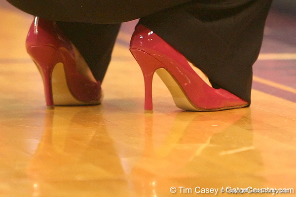 photo by Tim Casey<br /> <br /> Florida head coach Amanda Butler donned pink shoes during the Gators' 61-45 win against the Georgia Bulldogs on Sunday, January 18, 2009 at the Stephen C. O'Connell Center in Gainesville, Fla.