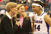 photo by Tim Casey<br /> <br /> Carol Ross interviews Florida head coach Amanda Butler and senior forward Marshae Dotson after the Gators' 61-45 win against the Georgia Bulldogs on Sunday, January 18, 2009 at the Stephen C. O'Connell Center in Gainesville, Fla.