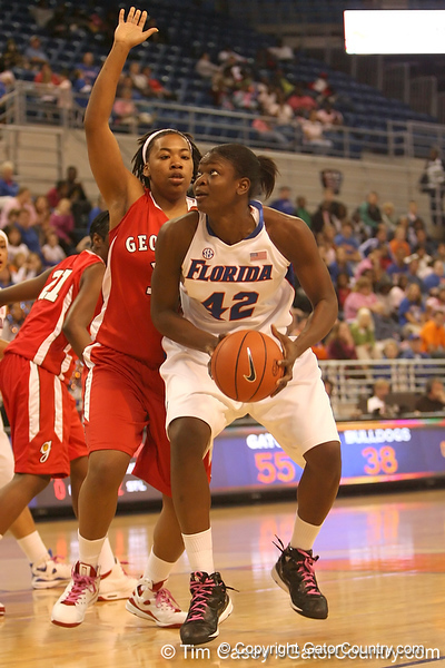 photo by Tim Casey<br /> <br /> Florida senior center Aneika Henry scores on a layup during the Gators' 61-45 win against the Georgia Bulldogs on Sunday, January 18, 2009 at the Stephen C. O'Connell Center in Gainesville, Fla.