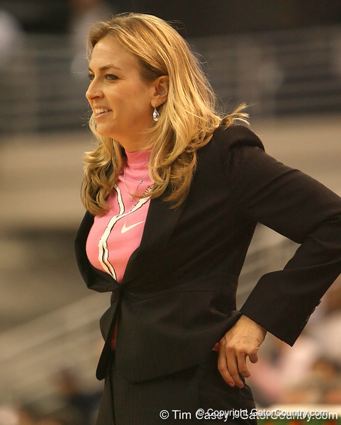 photo by Tim Casey<br /> <br /> Florida head coach Amanda Butler smiles during the Gators' 61-45 win against the Georgia Bulldogs on Sunday, January 18, 2009 at the Stephen C. O'Connell Center in Gainesville, Fla.