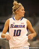 photo by Tim Casey<br /> <br /> Florida junior guard Steffi Sorensen looks for a play call during the Gators' 61-45 win against the Georgia Bulldogs on Sunday, January 18, 2009 at the Stephen C. O'Connell Center in Gainesville, Fla.