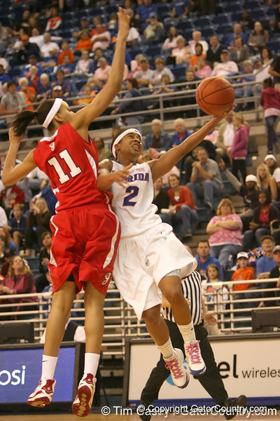photo by Tim Casey<br /> <br /> Florida junior guard Lonnika Thompson gets fouled by Meredith Mitchell during the Gators' 61-45 win against the Georgia Bulldogs on Sunday, January 18, 2009 at the Stephen C. O'Connell Center in Gainesville, Fla.