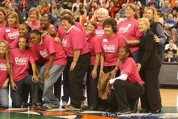photo by Tim Casey<br /> <br /> Florida women's basketball alumnae pose for a photo during the Gators' 61-45 win against the Georgia Bulldogs on Sunday, January 18, 2009 at the Stephen C. O'Connell Center in Gainesville, Fla.