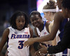photo by Tim Casey<br /> <br /> Florida senior guard Sha Brooks gets congratulated by Aneika Henry and Susan Yenser during the Gators' 61-45 win against the Georgia Bulldogs on Sunday, January 18, 2009 at the Stephen C. O'Connell Center in Gainesville, Fla.