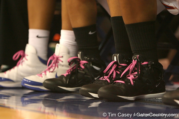 photo by Tim Casey<br /> <br /> Florida players wore pink shoelaces during the Gators' 61-45 win against the Georgia Bulldogs on Sunday, January 18, 2009 at the Stephen C. O'Connell Center in Gainesville, Fla.