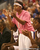 photo by Tim Casey<br /> <br /> Florida junior guard Lonnika Thompson cheers her teammates during the Gators' 61-45 win against the Georgia Bulldogs on Sunday, January 18, 2009 at the Stephen C. O'Connell Center in Gainesville, Fla.