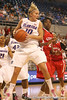 photo by Tim Casey<br /> <br /> Florida junior guard Steffi Sorensen grabs an offensive rebound during the Gators' 61-45 win against the Georgia Bulldogs on Sunday, January 18, 2009 at the Stephen C. O'Connell Center in Gainesville, Fla.