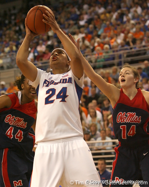 photo by Tim Casey<br /> <br /> Florida junior forward Sharielle Smith shoots a layup during the Gators' 75-54 win against the Mississippi Rebels on Sunday, January 25, 2009 at the Stephen C. O'Connell Center in Gainesville, Fla.