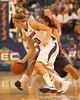 photo by Tim Casey<br /> <br /> Florida junior guard Steffi Sorensen loses the ball during the Gators' 75-54 win against the Mississippi Rebels on Sunday, January 25, 2009 at the Stephen C. O'Connell Center in Gainesville, Fla.