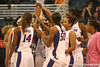 photo by Tim Casey<br /> <br /> The Florida basketball team huddles after the Gators' 75-54 win against the Mississippi Rebels on Sunday, January 25, 2009 at the Stephen C. O'Connell Center in Gainesville, Fla.